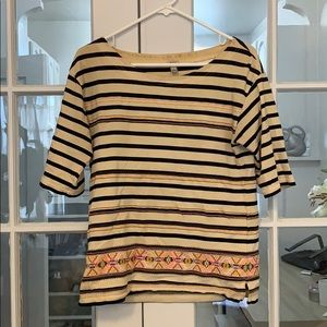 JCrew striped embroidery top